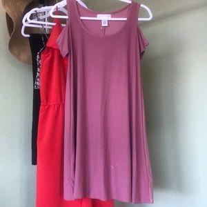 Pink cutout sleeve dress